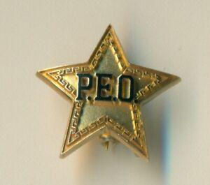 P.E.O. Philanthropic Educational Organization gold star Texas pin badge - WoW!