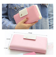 Lady Women Leather Wallet Clutch Long Purse Zipper Handbag Coin Bag Pink Fast US