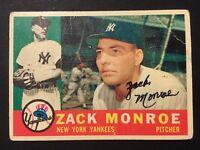 Zack Monroe Yankees Signed 1960 Topps Baseball Card #329 Auto Autograph