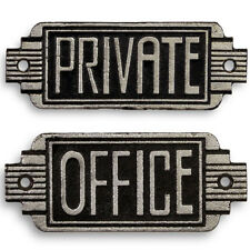 US-ART-DECO 2er SET GUSSEISEN WANDSCHILDER ●PRIVATE●OFFICE● HOLLYWOOD IRON SIGNS
