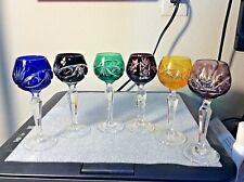 "Crystal glass Bohemia  Set of six Cordial Glasses Multi Color 5 1/2"""