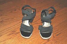 Womens BANDOLINO Black Wedge Heels Shoes Open Toe Size 9.5 M