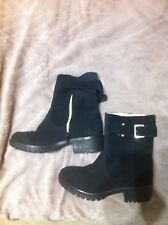 New Look Ankle Boots,Suede,Low Block Heel,Pull On,Zip Ladies Size 4 Eu 37 Used