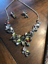 Ladybug Floral Necklace and Earring Set Silver Mint Condition Gorgeous