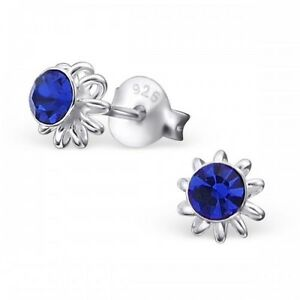 Childrens Girls Sterling Silver Sapphire Blue Crystal Flower Stud Earrings 5mm
