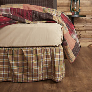 VHC Brands Rustic Queen Bed Skirt Tan Gathered Wyatt Cotton Plaid Bedroom Decor