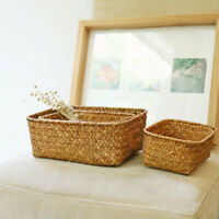Wicker Baskets Straw Storage Neatening Sundries Organizer Case Rattan Containers