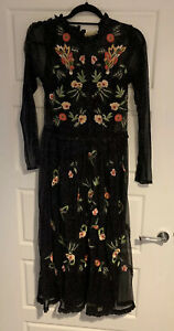 Frock and Frill Black Sparkly Floral Dress, Size 8