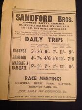 Ephemera 1929 Advert Sandford Bros Coach Services Day Trips F1l
