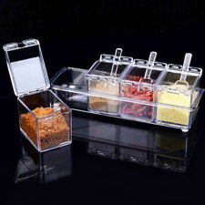 4X Seasoning Rack Spice Pots Box Storage Container Condiment Jar Kitchen Tool