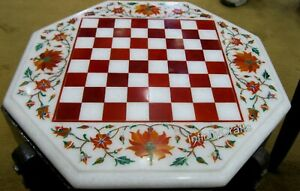12 Inch Marble Coffee Table Top Marquetry Art Chess Board Table for Chess Lovers