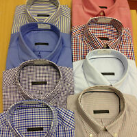 EX-M&S New PURE COTTON OXFORD Mens Shirt Check Long Sleeve Casual Work