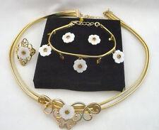 NEW 4 pc MOP & rhinestone ring,necklace,bracelet & earrings great gift idea