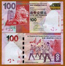 Hong Kong, $100, 2010, HSBC, P-New, UNC > Lion
