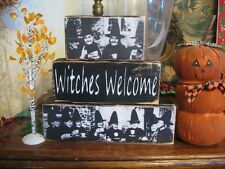 Primitive Halloween Shelf Sitter Blocks Sign Witches Welcome Shabby Aged