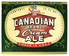Leisy Brewing Company CANADIAN BRAND CREAM ALE beer  label OH 12oz ABW 3.2%-7%