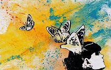 Dipinto graffiti Acrilico vernice spray Ritratto donna con farfalle Street art