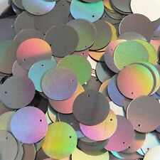 Round Sequin Paillettes 20mm Pewter Shiny Gray Lazersheen Rainbow Reflective