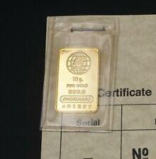 Rare Engelhard 10g Gold Bar Sealed Sealed with Assay Cert  9999 M1191