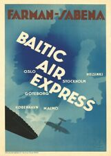 Scandinavia by Baltic Air Express, 1931, Vintage Art Deco Travel Poster