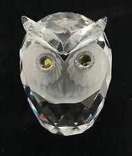 "Vintage Signed Swarovski Crystal 2"" Owl Figurine #7676 w/Rhinestone Eyes"