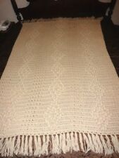 NEW Taupe Hand Crocheted Popcorn Stitch Afghan