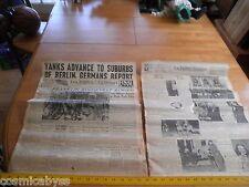 1945 LA Newspaper FDR Franklin Roosevelt funeral Yanks near Berlin WWII Germany