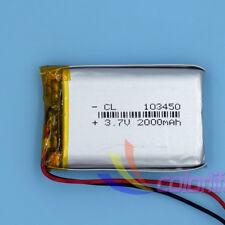 3.7 V Li-Polymer Rechargeable Battery Li-ion LiPo Cell for GPS 2000mAh 103450