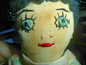 Antique Small Hand Stitched Female Cloth Doll w Stitched FACE W CHILD