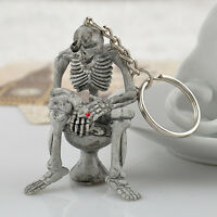 Fashion Creative Toilet skull Purse Bag Rubber KeyChain Keyring Gift Key Chain