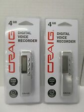 2 CRAIG DIGITAL VOICE RECORDER 4GB LCD DISPLAY 140 Hrs RECORDING TIME - NT 6759