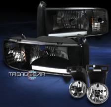 1994-2001 DODGE RAM PICKUP LED BAR BLACK CRYSTAL HEADLIGHTS W/DRIVING FOG LIGHT