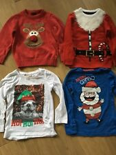 4 - 5 Yrs Christmas NEXT 2 Jumpers & 2 Tops Santa Reindeer Elf Dog🎅🏼 Xmas
