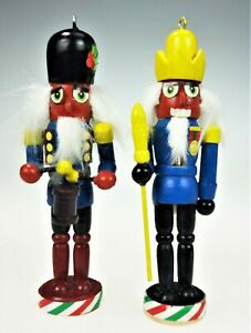 """2 Wooden NutCracker Christmas Tree Ornaments Red Face 5.5"""" Drummer Soldier"""