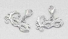 Solid Sterling Silver SPARKLING Masquerade Mask Charm Bracelet Pendant Necklace