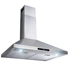 """30"""" Stainless Steel Wall Mount Range Hood Touch Control Mesh Filters and Clock"""