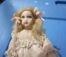 Vintage Dollhouse Doll Artist Porcelain Victorian Little Girl Blonde Pig Tails