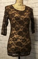 Ladies Cami Small Dressy Brown Lace 3/4 Sleeve Casual Tank Top Career NWOT
