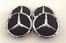 FOR MERCEDES BENZ SET OF 4 75mm MATTE BLACK WHEEL BADGE CENTER CAPS WC4PC502 MB1
