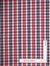 Homespun Check Plaid Patriotic Red Blue Cotton Fabric QH14 Americana - Yard