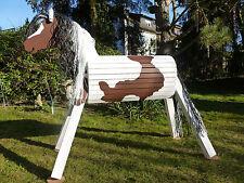 90cm Holzpferd Holzpony Voltigierpferd Spielpferd Pony wetterf. Tinker Pinto NEU