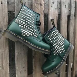 DR.MARTENS Green Studs Silver Full 1460 [Product Customized] Shoes Ori