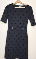 Boden Navy Blue Black Audrey Polka Dot Dress Ponte Knit Shift Retro Size 4R