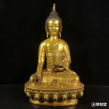 12'' copper gilt carved folk home fengshui auspicious Sakyamuni buddha statue