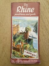 1963 The Rhine River Panorama Guide Map Mainz to Koln Stollfuss-Verlag Bonn GER