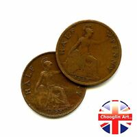 A pair of 1927 British Bronze GEORGE V HALFPENNY Coins