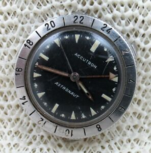 1963 Accutron Astronaut A 24H Black Dial Stainless Steel Wrist Watch. YOU FIX