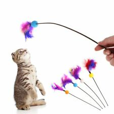 Cat Toys Stick Feather Ball Funny Interactive Kitten Pet Squeaky Teaser Plastic