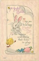 Easter~White Bunny Rabbit Chases Chick~Break Out Scroll~Pink Egg~Bergman~1915