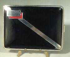 Art Deco Webster Co  Sterling Silver & Enamel Cigarette Case C-1930 Dunand Style
